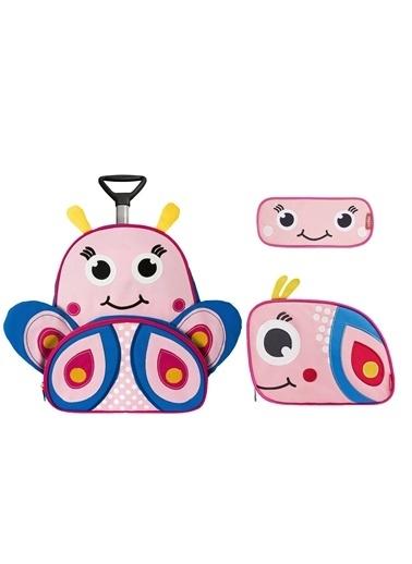 Zoozy Kelebek Çekçekli Çanta Seti (Çekçekli Sırt Çanta-Beslenme Çantası-Kalemlik) Renkli